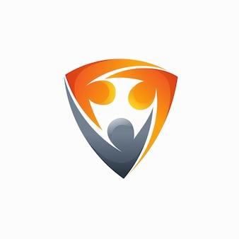 Logotipo do trabalho em equipe com conceito de escudo