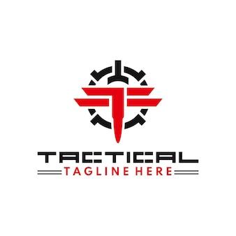 Logotipo do treinamento tático ou militar, esporte tático, equipe militar, bala e monograma tf