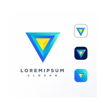 Logotipo do triângulo 3d