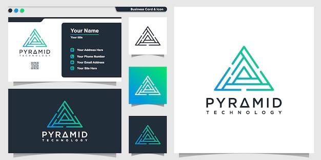 Logotipo do triângulo com tecnologia em linha arte estilo pirâmide e modelo de design de cartão de visita