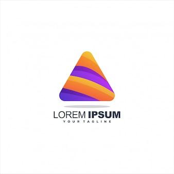 Logotipo do triângulo roxo e laranja