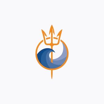 Logotipo do tridente de netuno e onda do mar