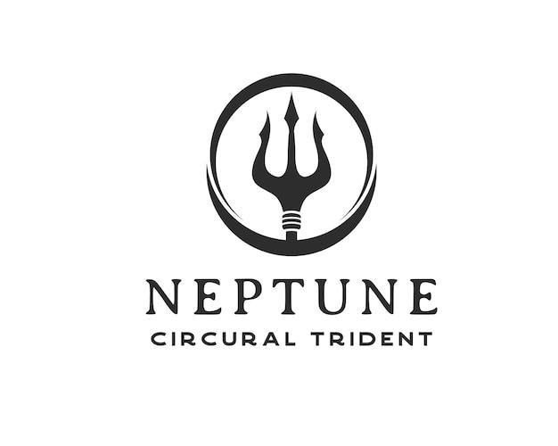 Logotipo do tridente preto vintage. modelo de design de logotipo de tridente circular netuno