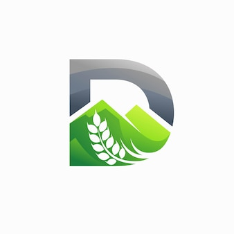 Logotipo do trigo com a letra d conceito