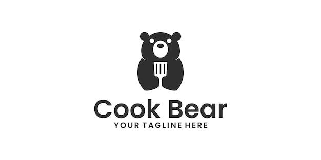 Logotipo do urso cozinhando com espátula negativa