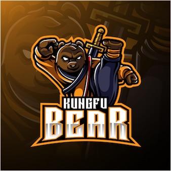 Logotipo do urso de kungfu com uma espada