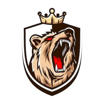 Logotipo do urso de luxo e estilo e-sport