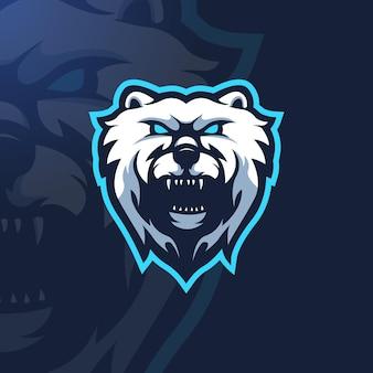 Logotipo do urso irritado para jogos, equipe ou esportes