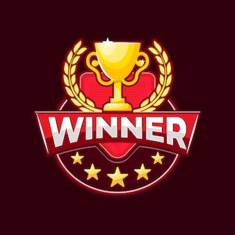 Logotipo do vencedor com troféu