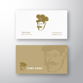 Logotipo do vetor abstrato do chef e modelo de cartão de visita estilo retro emblema cozinheiro rosto em um chapéu com must ...