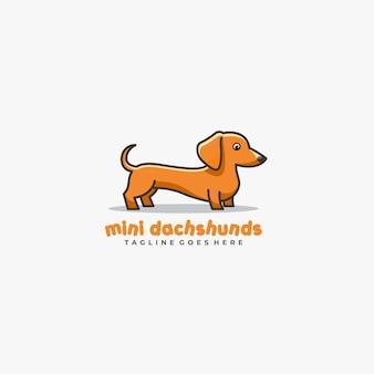 Logotipo do vetor da ilustração de mini dachshund cute pose mascot.