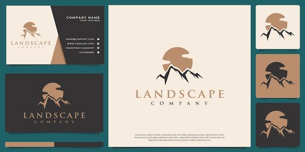 Logotipo do vetor das montanhas com estilo vintage moderno