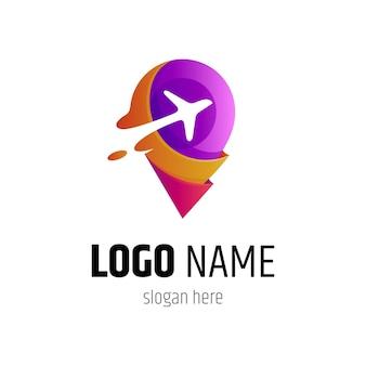 Logotipo do vetor do pino e do avião