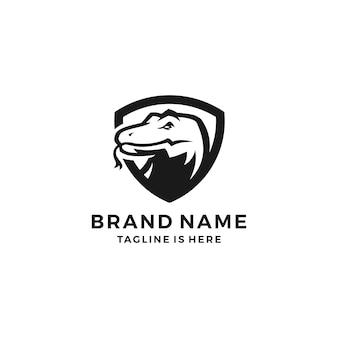 Logotipo do vetor logo do logotipo do dragão do protetor do komodo