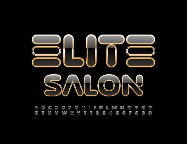 Logotipo do vetor premium elite salon creative moderno fonte letras e números pretos e dourados do alfabeto