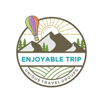 Logotipo do viajante com paisagem de montanha