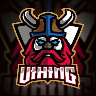 Logotipo do viking com escudo esport