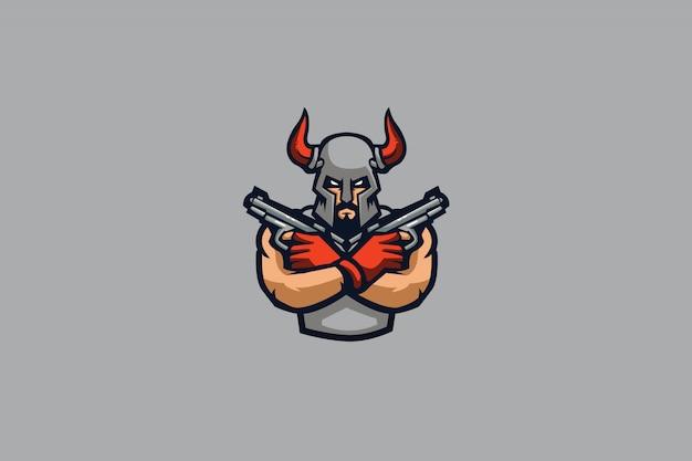 Logotipo do viking gunner e sports