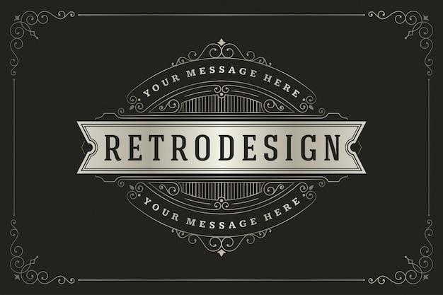 Logotipo do vintage com decorações elegantes dos redemoinhos e das vinhetas dos ornamento dos flourishes.