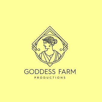 Logotipo do vintage da fazenda da deusa
