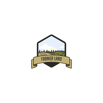Logotipo do vintage da terra do fazendeiro
