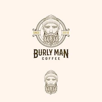 Logotipo do vintage do café de burlyman