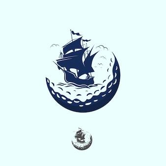 Logotipo do vintage do golfe do navio