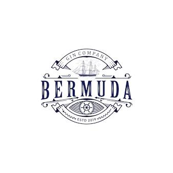 Logotipo do vintage do navio de bermuda