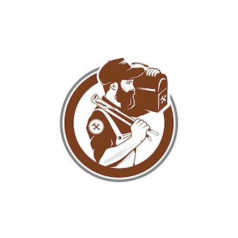 Logotipo do vintage do trabalhador