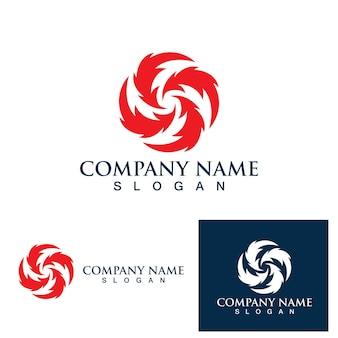 Logotipo do vórtice da bola de fogo e imagem vetorial de símbolo