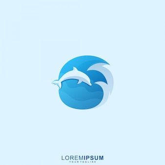 Logotipo do wave dolphin premium