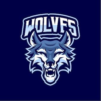 Logotipo do wolf head mascot para esports e equipes esportivas
