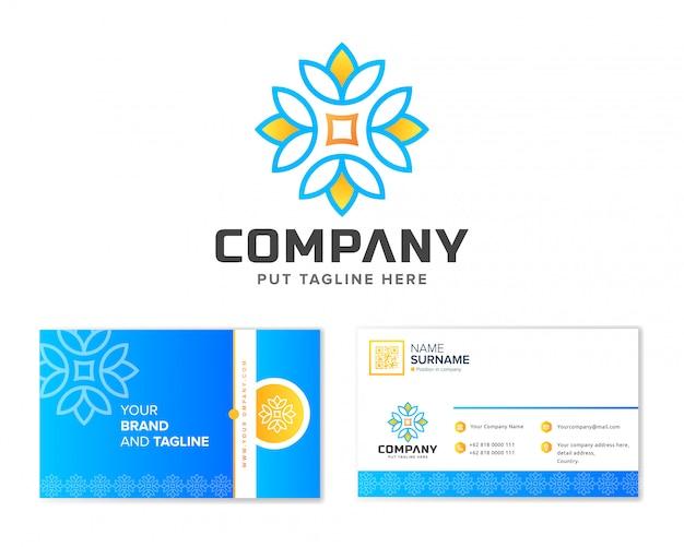 Logotipo do zen da flor com artigos de papelaria cartão de visita