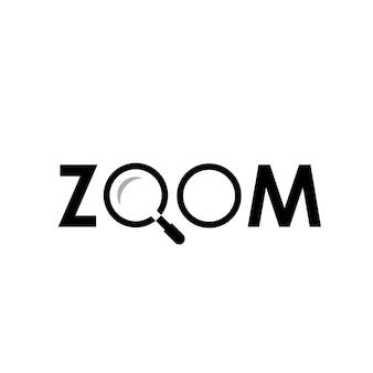 Logotipo do zoom com símbolo de ampliação