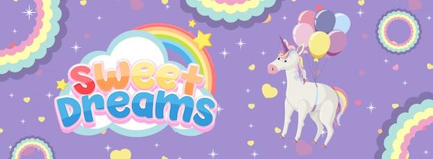 Logotipo dos bons sonhos com lindo unicórnio em fundo roxo