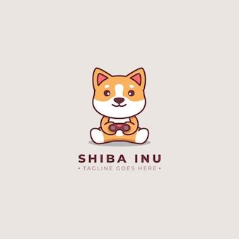 Logotipo dos desenhos animados de jogador de shiba inu