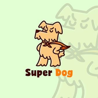 Logotipo dos desenhos animados de robe laranja desgastando super cão bonito