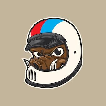 Logotipo dos desenhos animados do motociclista do porco