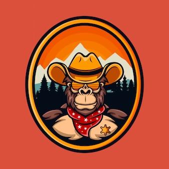 Logotipo dos desenhos animados do xerife do vaqueiro do macaco