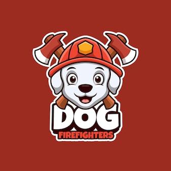 Logotipo dos desenhos animados para bombeiros com mascote de cachorro fofo