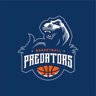 Logotipo dos dinossauros de basquetebol predadores