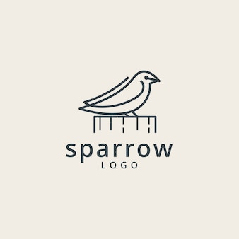 Logotipo dos pardais com um estilo de linha simples
