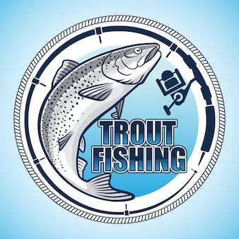 Logotipo dos pescadores da truta