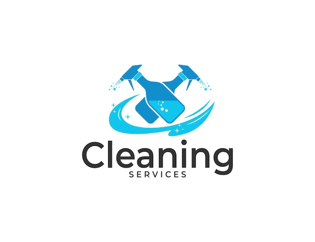 Logotipo dos serviços de limpeza com ilustração de spray de garrafa dupla