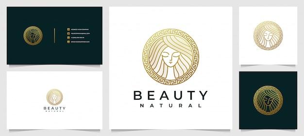 Logotipo dourado criativo do spa do salão de beleza com cartão de visita