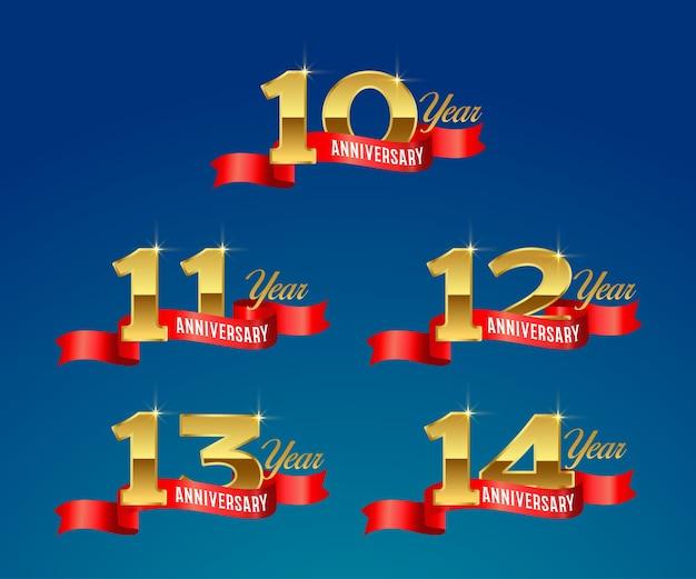 Logotipo dourado da celebração do 10º aniversário com fita