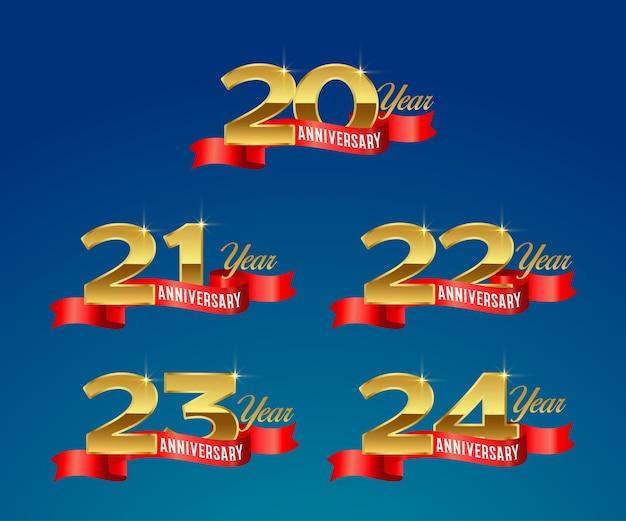 Logotipo dourado da celebração do 20º aniversário com fita