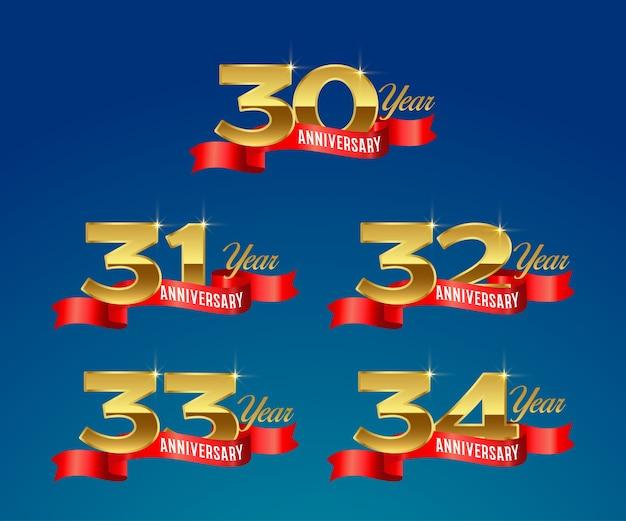 Logotipo dourado da celebração do 30º aniversário com fita