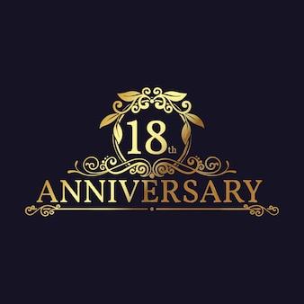 Logotipo dourado do 18º aniversário com enfeites