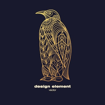 Logotipo dourado do pinguim ornamental